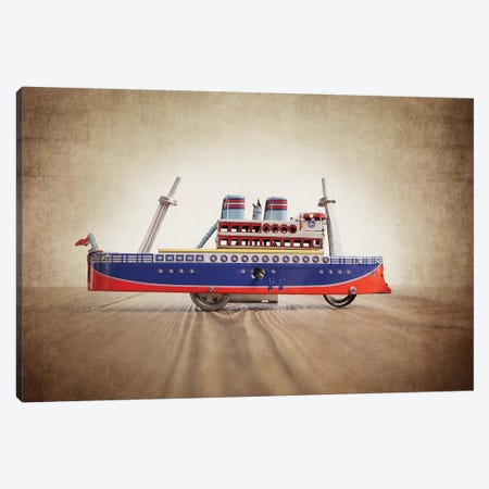 Blue Orange Tin Ship Canvas Print #SNT28} by Saint and Sailor Studios Canvas Wall Art