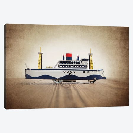 Blue White Tin Ship Canvas Print #SNT29} by Saint and Sailor Studios Canvas Artwork