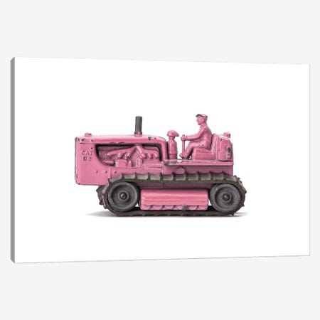 Bulldozer WhitePink Canvas Print #SNT31} by Saint and Sailor Studios Canvas Print