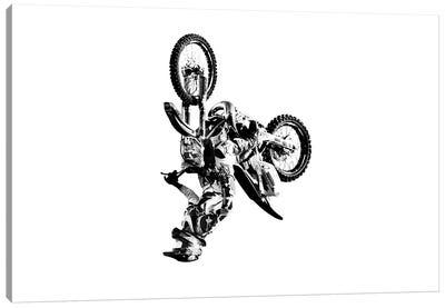 Motocross Flip White Canvas Art Print