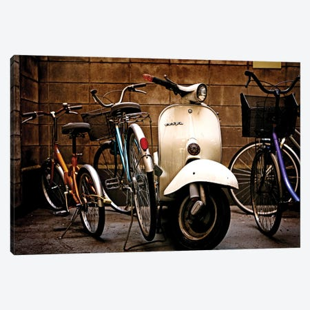 Vespa With Bikes Canvas Print #SNT97} by Saint and Sailor Studios Canvas Artwork