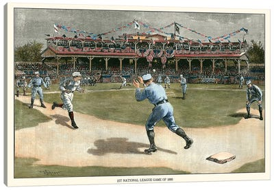 National League Game, 1886 Canvas Art Print
