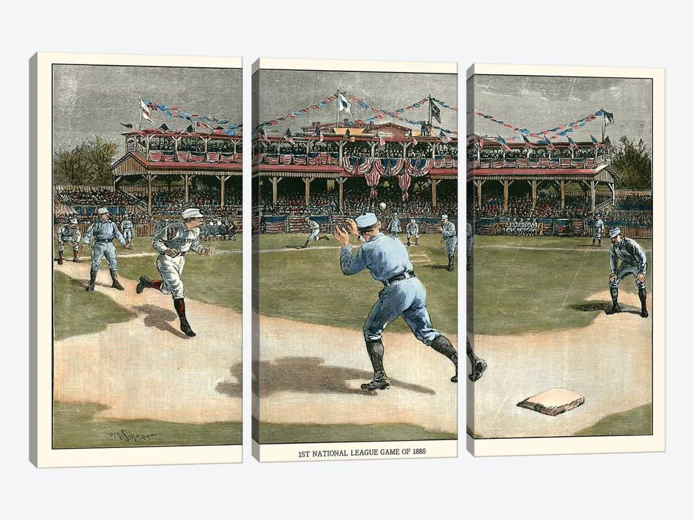 National League Game, 1886 by Snyder 3-piece Canvas Wall Art