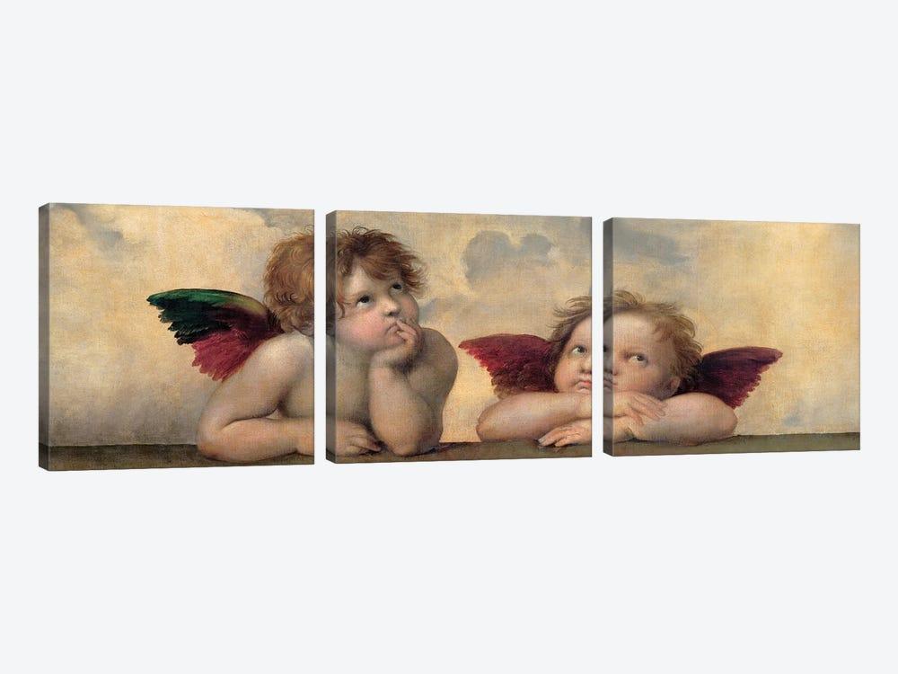 Angeli - Madonna Sistina, Cropped by Raphael 3-piece Canvas Wall Art