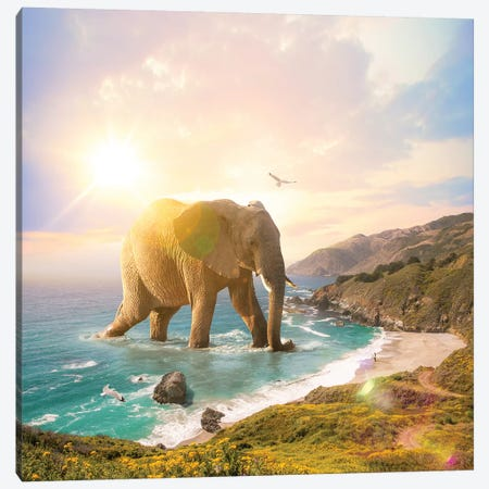 Trouvaille Elephant Pastel Canvas Print #SOA105} by Soaring Anchor Designs Canvas Art