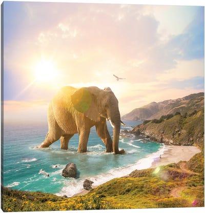 Trouvaille Elephant Pastel Canvas Art Print