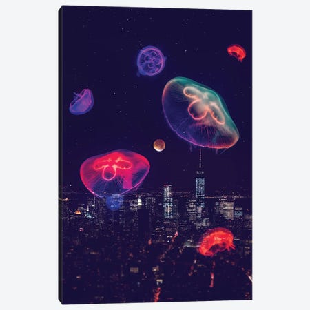 City Jellyfish Moon Canvas Print #SOA109} by Soaring Anchor Designs Canvas Print