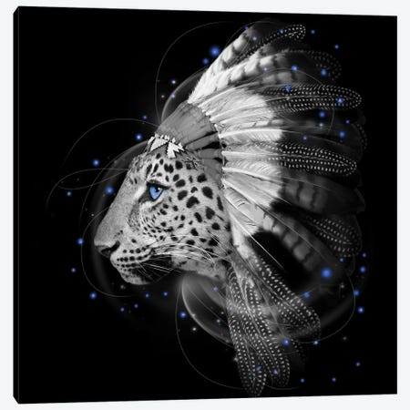 Chief Leopard In Black & White Canvas Print #SOA10} by Soaring Anchor Designs Art Print
