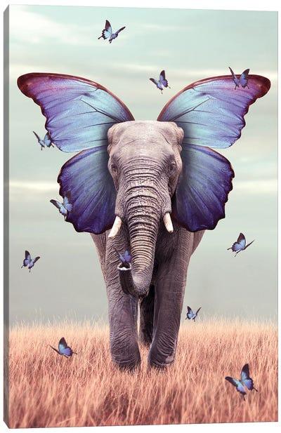 Elephant Blue Morpho Lenity Mint Canvas Art Print