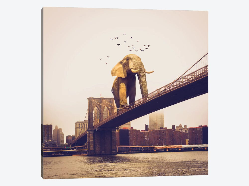 Elephant Bridge Amble by Soaring Anchor Designs 1-piece Canvas Art