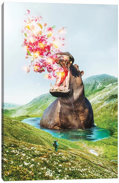 From Within Hippo Wading Canvas Art Print