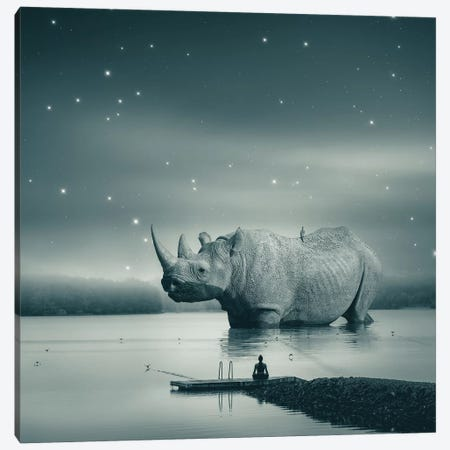 Rhino Zen Gray Blue Canvas Print #SOA118} by Soaring Anchor Designs Canvas Artwork