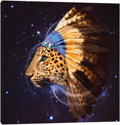 Chief Leopard In Color Canvas Art Print