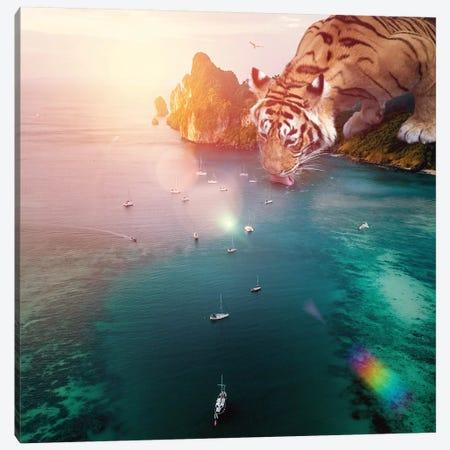 Tiger Drink Color Canvas Print #SOA122} by Soaring Anchor Designs Canvas Print
