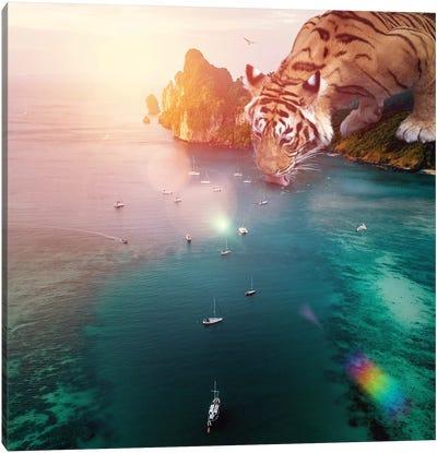 Tiger Drink Color Canvas Art Print