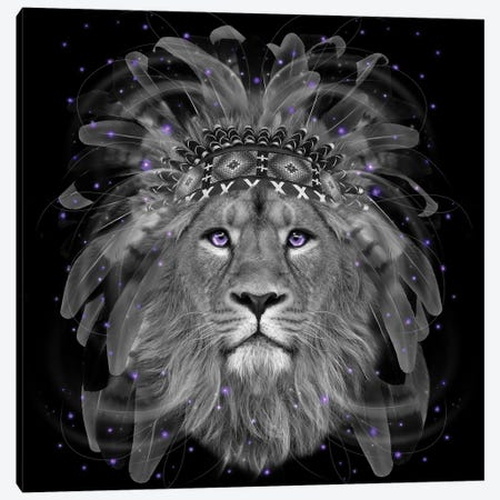 Chief Lion In Black & White Canvas Print #SOA12} by Soaring Anchor Designs Art Print
