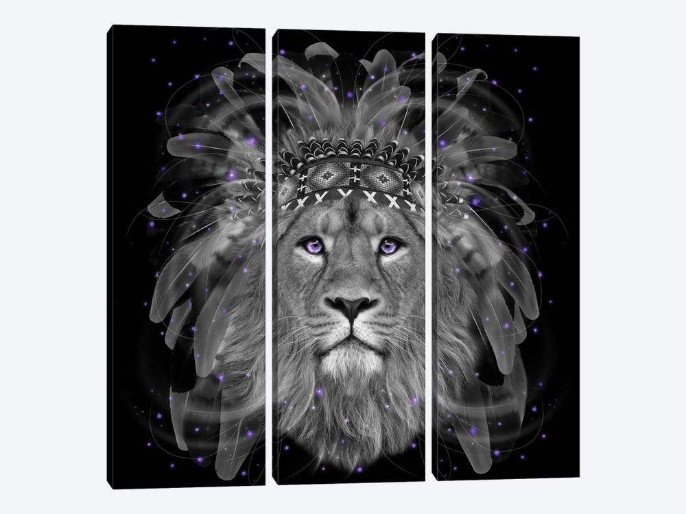 Chief Lion In Black & White by Soaring Anchor Designs 3-piece Canvas Art Print