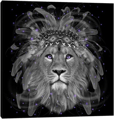 Chief Lion In Black & White Canvas Art Print