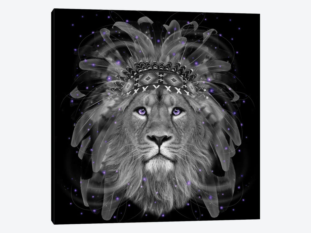 Chief Lion In Black & White by Soaring Anchor Designs 1-piece Art Print