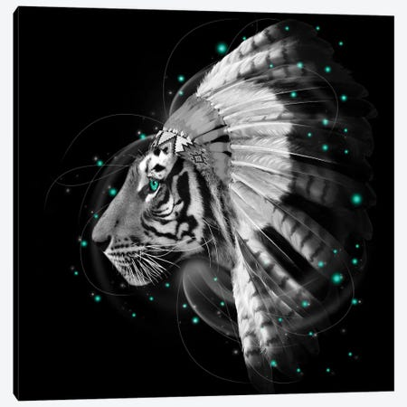Chief Tiger In Black & White Canvas Print #SOA13} by Soaring Anchor Designs Canvas Print