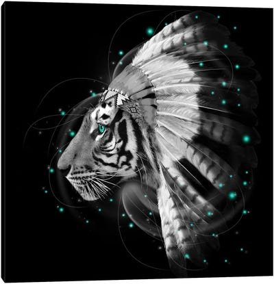 Chief Tiger In Black & White Canvas Art Print