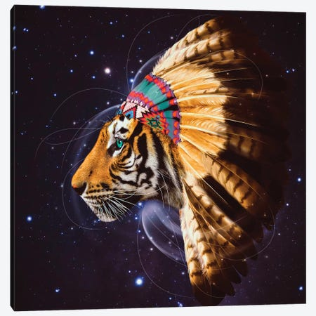 Chief Tiger In Color Canvas Print #SOA14} by Soaring Anchor Designs Canvas Wall Art
