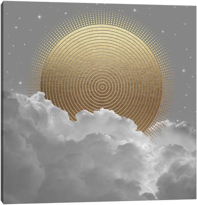 Clouds Abstract Gold Sun Canvas Art Print
