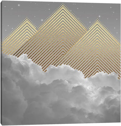 Clouds Abstract Gold Mountains Canvas Art Print