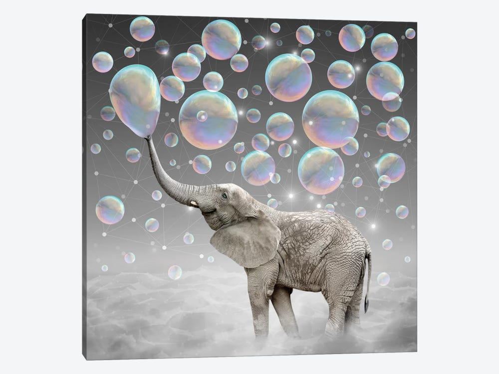 Dream Makers - Elephant Bubbles by Soaring Anchor Designs 1-piece Canvas Print
