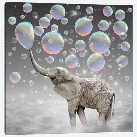 Dream Makers - Elephant Bubbles Canvas Print #SOA23} by Soaring Anchor Designs Canvas Wall Art