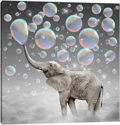 Dream Makers - Elephant Bubbles Canvas Art Print