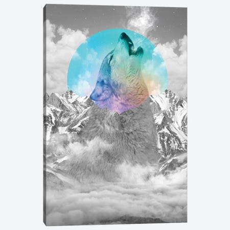 In Love With Moon - Wolf Canvas Print #SOA39} by Soaring Anchor Designs Canvas Art Print