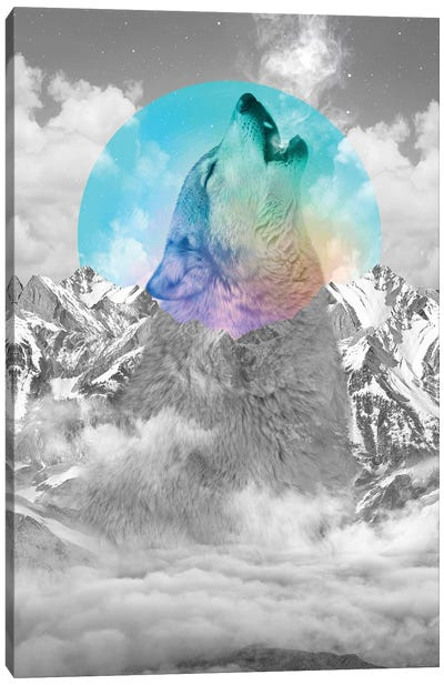 In Love With Moon - Wolf Canvas Art Print