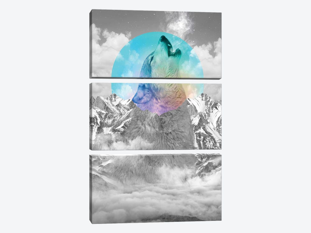 In Love With Moon - Wolf by Soaring Anchor Designs 3-piece Canvas Art