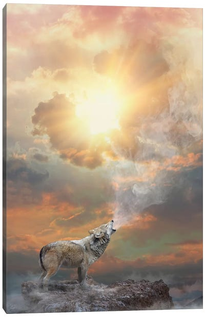 Lone Wolf Howl - Day Canvas Art Print