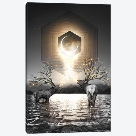 Made Of Star Stuff - Elk Galaxy In Black & White Canvas Print #SOA48} by Soaring Anchor Designs Canvas Wall Art