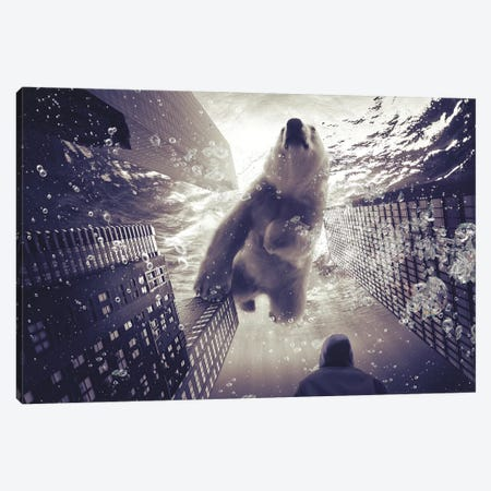 Oneiric - Polar Bear With Man Canvas Print #SOA54} by Soaring Anchor Designs Canvas Wall Art
