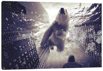 Oneiric - Polar Bear With Man Canvas Art Print