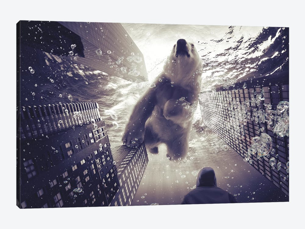 Oneiric - Polar Bear With Man by Soaring Anchor Designs 1-piece Canvas Print