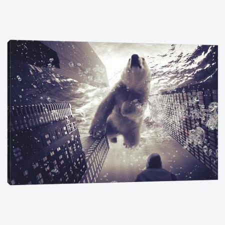 Oneiric - Polar Bear With Man Canvas Print #SOA54} by Soaring Anchor Designs Canvas Wall Art