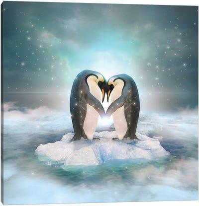 Penguin Couple Canvas Art Print