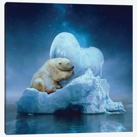 Polar Bear - Ice Heart Canvas Print #SOA57} by Soaring Anchor Designs Canvas Wall Art
