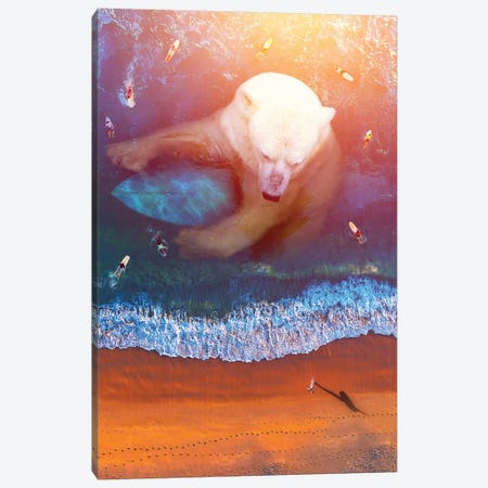 Polar Bear - Surfing Canvas Print #SOA58} by Soaring Anchor Designs Canvas Art Print