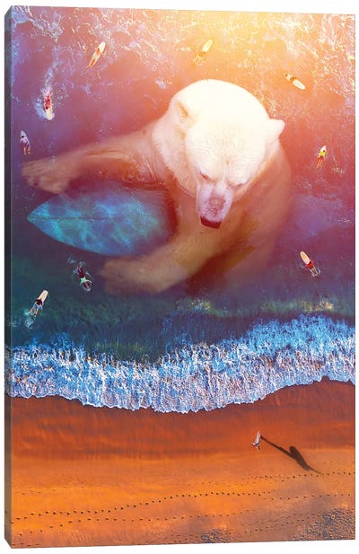 Polar Bear - Surfing Canvas Art Print