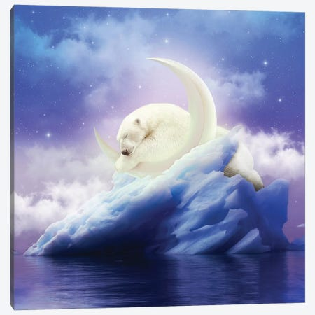 Polar Moon - Polar Bear Canvas Print #SOA60} by Soaring Anchor Designs Canvas Artwork