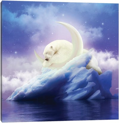Polar Moon - Polar Bear Canvas Art Print