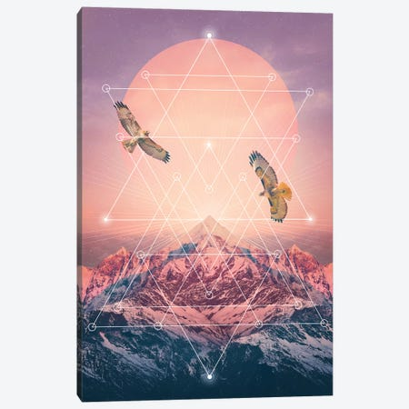 Rise Up - Pink Geo Mountain Canvas Print #SOA61} by Soaring Anchor Designs Canvas Wall Art