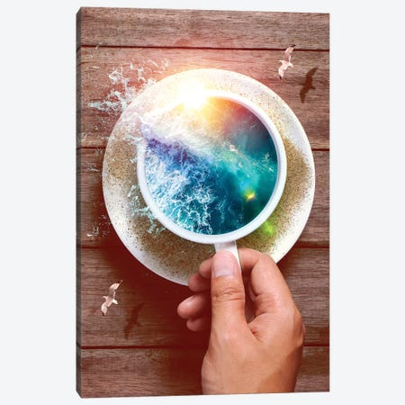 Spoondrift Wave - Cup 3-Piece Canvas #SOA72} by Soaring Anchor Designs Canvas Print