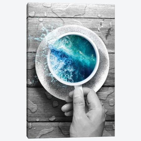 Spoondrift Wave - Cup In Black & White Canvas Print #SOA73} by Soaring Anchor Designs Canvas Print