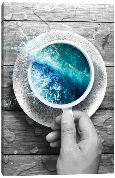 Spoondrift Wave - Cup In Black & White Canvas Art Print